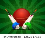 cricket attire with ball and... | Shutterstock .eps vector #1262917189