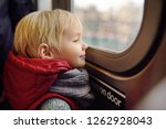 little boy looks out the window ... | Shutterstock . vector #1262928043