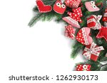 flat lay. christmas  gifts ... | Shutterstock . vector #1262930173