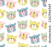 seamless pattern with cute... | Shutterstock .eps vector #1262966569