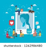 social community with woman... | Shutterstock .eps vector #1262986480