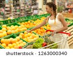 young woman go shopping in... | Shutterstock . vector #1263000340
