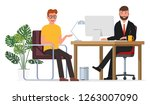 the interview of the employee... | Shutterstock .eps vector #1263007090