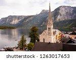 hallstatt church close up photo ... | Shutterstock . vector #1263017653