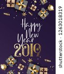 happy new year 2019   new year... | Shutterstock .eps vector #1263018319
