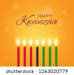 happy kwanzaa poster with... | Shutterstock .eps vector #1263020779