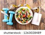 healthy eating  diet food... | Shutterstock . vector #1263028489