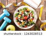 healthy eating  diet food... | Shutterstock . vector #1263028513