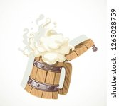 foamy beer in a wooden mug... | Shutterstock .eps vector #1263028759