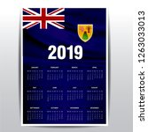 calendar 2019 turks and caicos... | Shutterstock .eps vector #1263033013