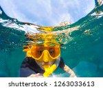 woman face wearing snorkeling... | Shutterstock . vector #1263033613