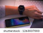 smart watch at woman s hand... | Shutterstock . vector #1263037003