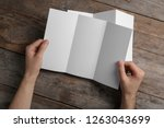 man with blank brochure on... | Shutterstock . vector #1263043699