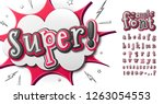 cool comic font  cartoon kid's... | Shutterstock .eps vector #1263054553
