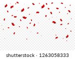 many falling red tiny confetti... | Shutterstock .eps vector #1263058333