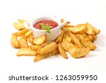 french fries and tomato sauce... | Shutterstock . vector #1263059950