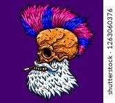 punk rock santa skull. vector... | Shutterstock .eps vector #1263060376