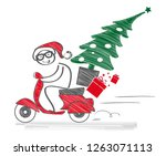 santa claus drives a moped and... | Shutterstock .eps vector #1263071113