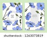 vector. blue flax flower.... | Shutterstock .eps vector #1263073819