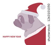 pug in new year hat  happy new... | Shutterstock .eps vector #1263101050