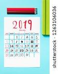 high angle view of a calendar... | Shutterstock . vector #1263106036