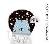 cute cat in space print.... | Shutterstock .eps vector #1263121729