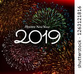 abstract happy new year 2019...   Shutterstock .eps vector #1263121816