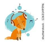 musical illustration of a fox... | Shutterstock .eps vector #1263149596