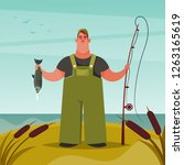 funny chubby fisherman. cartoon ... | Shutterstock .eps vector #1263165619