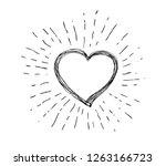 heart symbol with sunburst | Shutterstock .eps vector #1263166723