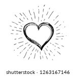 heart symbol with sunburst | Shutterstock .eps vector #1263167146
