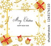 christmas card  golden... | Shutterstock .eps vector #1263176110