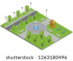 city park with trees fountain... | Shutterstock .eps vector #1263180496