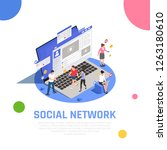 social media network isometric... | Shutterstock .eps vector #1263180610