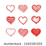 hand drawn hearts.  valentine's ... | Shutterstock .eps vector #1263181333