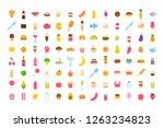 set of vector cartoon food icon ... | Shutterstock .eps vector #1263234823