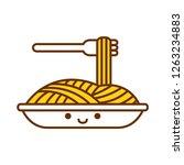 vector cartoon cute spaghetti... | Shutterstock .eps vector #1263234883