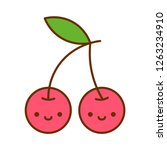 vector cartoon cute cherry icon ... | Shutterstock .eps vector #1263234910
