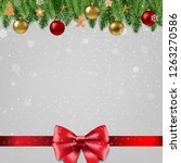 christmas poster with bow | Shutterstock . vector #1263270586