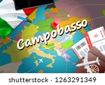 Campobasso city travel and tourism destination concept. Italy flag and Campobasso city on map. Italy travel concept map background. Tickets Planes and flights to Campobasso holidays Italian vacation