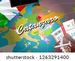 Catanzaro city travel and tourism destination concept. Italy flag and Catanzaro city on map. Italy travel concept map background. Tickets Planes and flights to Catanzaro holidays Italian vacation
