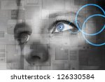 human eye with power button... | Shutterstock . vector #126330584