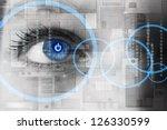 human eye with power button...   Shutterstock . vector #126330599