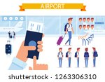 airport. people traveling... | Shutterstock .eps vector #1263306310