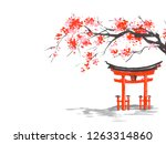 japan traditional sumi e... | Shutterstock . vector #1263314860