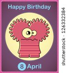 happy birthday card with cute... | Shutterstock .eps vector #126332384
