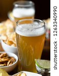 set of various snacks  pint of... | Shutterstock . vector #1263340990