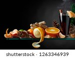 mulled wine hot drink with... | Shutterstock . vector #1263346939
