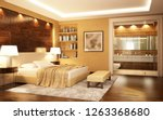 Stock photo a bedroom combined with a bathroom in a modern style d rendering 1263368680