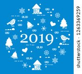 happy new year 2019 card.... | Shutterstock .eps vector #1263369259
